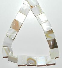 MP979f White Natural 11mm - 13mm Flat Square Mother of Pearl Shell Beads 15""