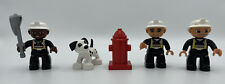 Lego DUPLO Lot of 3 FIREMEN FIGURES DALMATIAN DOG FIRE HYDRANT AXE