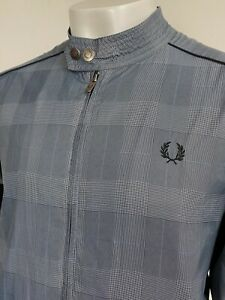Fred Perry   Prince Of Wales Check Biker Jacket L (Blue) Mod Scooter 60s Skins