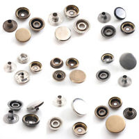 12/15/17mm Silver Brass Black Snap Fasteners Press Studs Poppers Popper Buttons