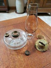 Atq Glass Oil Lamp Parts Queen Anne # 2 Burner and Font Cap Scovill Globe M W