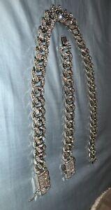 18k Cuban Chain & Cuban Bracelet Bundle - White Gold