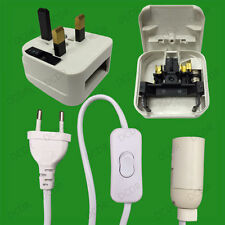 Plug-in E14 SES Light Socket With In-line Switch, Cable, EU & UK 3 Pin 13A Plugs