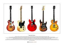 Famous Blues-Rock Guitars Limited Edition Fine Art Print A3 size