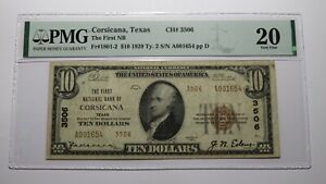 $10 1929 Corsicana Texas TX National Currency Bank Note Bill Ch. #3506 VF20 PMG