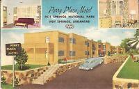 Hot Springs, ARKANSAS - Perry Plaza Motel - 1952 - MULTIVIEW - Roadside, old car