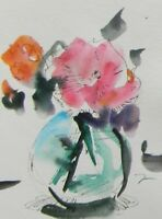 JOSE TRUJILLO ORIGINAL Watercolor Painting Modern 6x8 Still Life PINK FLOWER