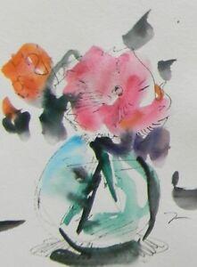 "JOSE TRUJILLO ORIGINAL Watercolor Painting Modern 6x8"" Still Life PINK FLOWER"