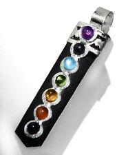 Black Tourmaline Crystal Point Chakra Gem Silver Pendant Necklace Reiki Healing