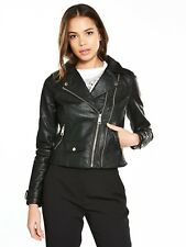 RIVER ISLAND FAUX LEATHER BIKER JACKET BLACK DOUBLE ZIP  UK 10 NEW SOLD OUT
