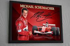 "Michael Schumacher F1 Ferrari Framed Canvas Signed Print ""Great Gift"""