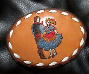 "VTG NOCONA LEATHER SQUARE DANCE EMBROIDERED Belt Buckle for 1.4"" BELT"