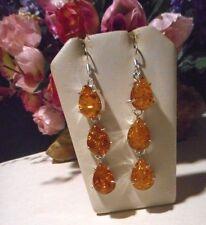 Handmade Artisan earrings drop/dangle with honey colored Baltic Amber..