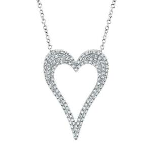 Diamond Heart Outline Pendant 14k White Gold Natural Round Cut Pave Necklace