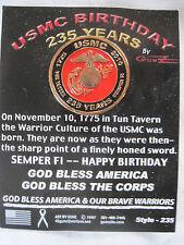 UNITED STATES MARINE CORPS USMC BIRTHDAY 235 YEARS PIN - MADE BY GUNZ - NEW