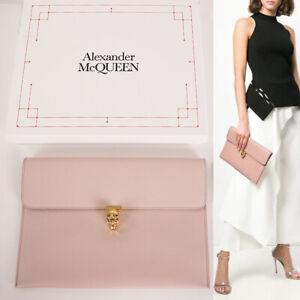 NEW $625 ALEXANDER MCQUEEN Nude Pink Leather SKULL CLASP Envelope CLUTCH BAG NIB