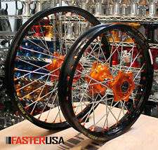 KTM MX WHEELS FASTER USA HUBS SPOKES COLORED NIPPLES NEW KTM400EXC MXC 15-18