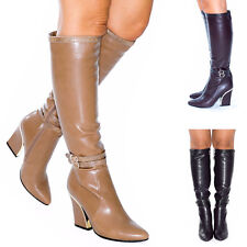 Womens Ladies Knee High Long Buckle Faux Leather Slouch Heel Boots Shoes Size