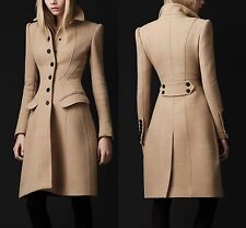 BURBERRY PRORSUM Light Brown Sculpted Crepe Wool Buttoned Coat IT 46 US 12 Large
