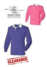 New Mens Original Long Sleeve Rugby Shirt Purple Pink Front Row RRP £18.95