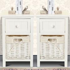 2PcTable de chevet Table de nuit Commode Armoire Chambre à coucher Tiroir Osier