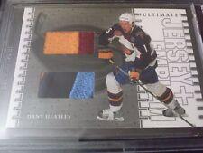 Dany Heatley 2003-04 Ultimate Mem Game Used Jersey Emblem /10 BGS Encased