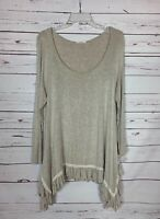 Easel Anthropologie Women's L Large Beige Long Sleeve Ruffle Spring Tunic Top