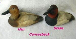 Pr. Hand Carved & Painted Wooden Canvasback Ducks, Artist Signed, 2014 USA,
