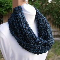 Blue and Black INFINITY SCARF LOOP COWL Soft Handmade Crochet Knit Winter Circle