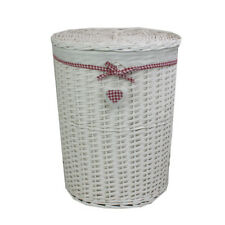 JVL Heart White Wicker Round Laundry Basket with Lid and Lining