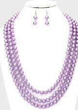 "120"" Very Long LAVENDER Purple Pearl Bead Chunky Statement Necklace Earrings Set"