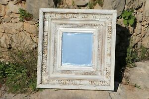 Divinely Decadent White & Gold Leaf Antique Baroque Mirror, Portuguese