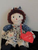 """1999 Raggedy Ann Doll 18"""" I love you purse"""