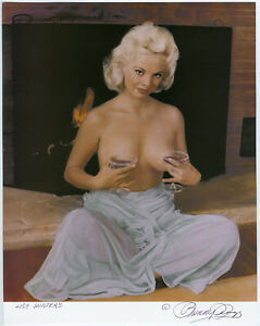 Risque Lisa Winters Boudoir Pin-Up Lithograph NOS Hand Signed Bunny Yeager