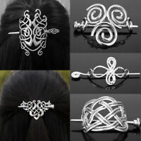 Vintage Viking Celtic Knotwork Hairpin Hair Stick Hair Clip Barrette Women Girls