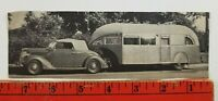 Vintage 1936 Ford Cabriolet Pulling Camper (Paper Cut Out of 1940's Magazine)