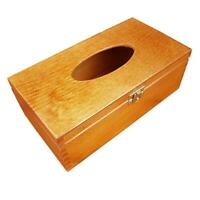 WOODEN TISSUE BOX  LOCKABLE LATCH IN BROWN COLOR