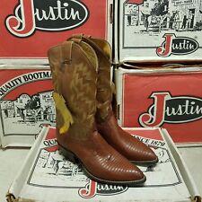 JUSTIN 1988 Vintage men's women's boot Iguana Lizard Coa Kiddie UK 7 EUR 39 US 9