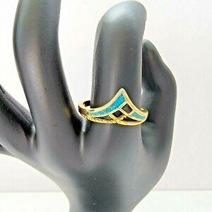 Turquoise Color Inlay Gold Tone Ring Size 9 Southwestern Boho Minimalist Dainty