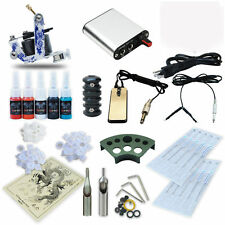 Complete Starter Tattoo Kit Machine Gun Set Needles Power Supply 5 Color Inks