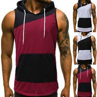 Men Summer Hoodie Patchwork Hooded Vest Tank Sleeveless Tee Shirt Tops Blouse CR