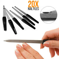 20x Stainless Steel Double Sided Nail File Manicure Pedicure Grooming Tools