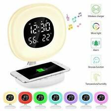 D7 LED Wake-up Light Sunrise Alarm Clock Mobile Phone Wireless Charger