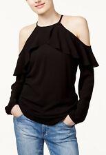 NWT Michael Kors Black Cold Shoulder Ruffle Top Shirt XL