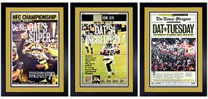 Set of 3 New Orleans Saints NFC / Super Bowl & Parade Prints Matted & Framed!