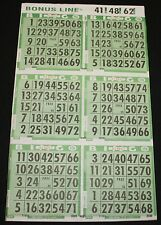 BINGO PAPER Cards, 6 on 1 Green T 50 sheets NO duplicates  BONUS LINE  FREE SHIP