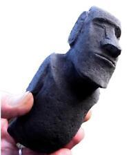 TRADITIONAL EASTER ISLAND MOAI STATUE black stone ancient replica