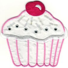 Pink Cherry Cupcake cup cake Embroidery Patch