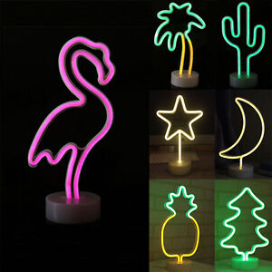LED Neon Table Lamps LED Night Lights Photography Prop Flamingo Coconut Shaped