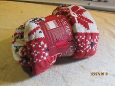 Ralph Lauren Throw Blanket Red Cream  Fleece Plush 60 x 70 New